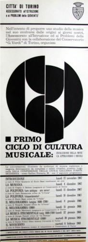 1967 città di Torino cultura musicale locandina 35x100
