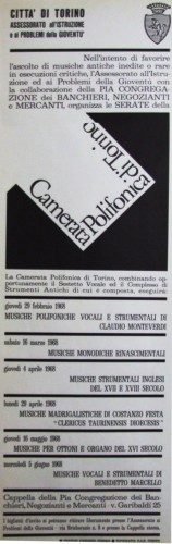 1968 città di Torino e camerata polifonica locandina 35x100