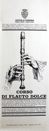 1969 città di Torino corso di flauto locandina 35x100