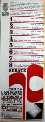 1969 città di Torino e camerata poli. locandina 35x100