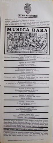 1969 città di Torino musica rara locandina 35x100