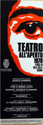 1970 città di Torino teatro all'aperto locandina 35x100