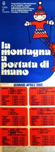 1980 città di Torino montagna... locandina 35x100