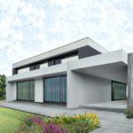 riqualificazione di un edifio energivoro con impianto di fitodepurazione per recupero acque piovane. la casa ha una faccata moderna contemporanea con tettoie in aggetto e grandi porte finestre scorrevi a tutta parete