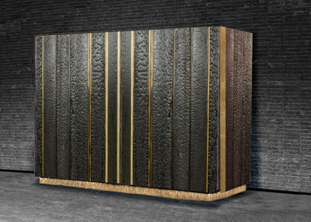 mobile contenitore in legno shou sugi ban e ottone. Architetto massimo tiberio