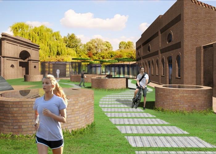 cittadella del commiato_ prospettiva da ovest vs autorimessa senza alberi fotovoltaico