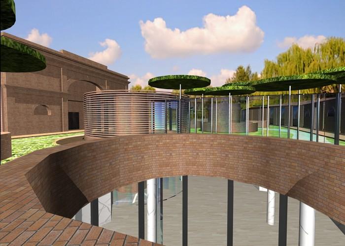 cittadella del commiato_ vista attraverso un pozzi verdi