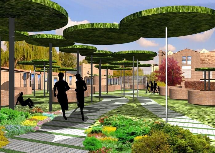 prospettiva da estcon alberi fotovoltaico